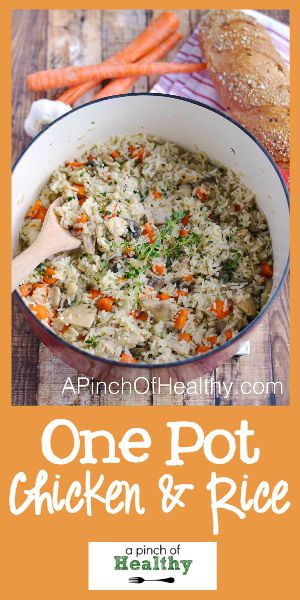 One Pot Chicken and Rice - a simple and delicious dinner that the whole family will love...made in one pot! | APinchOfHealthy.com
