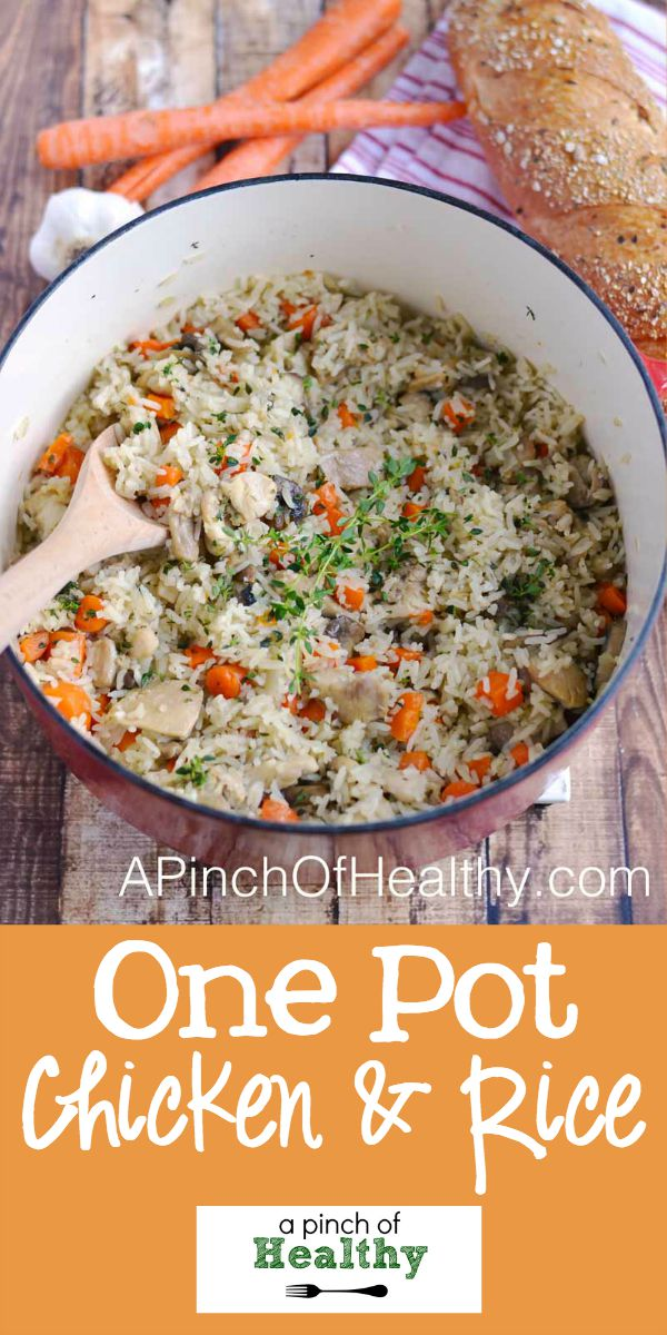 One Pot Chicken & Rice - a simple and delicious dinner that the whole family will love...made in one pot!| APinchOfHealthy.com