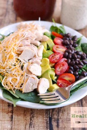 BBQ Ranch Chopped Salad - perfect for using up leftover rotisserie chicken! | APinchOfHealthy.com