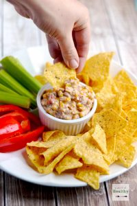 Corn Queso Dip - a yummy appetizer that everyone loves | APinchOfHealthy.com