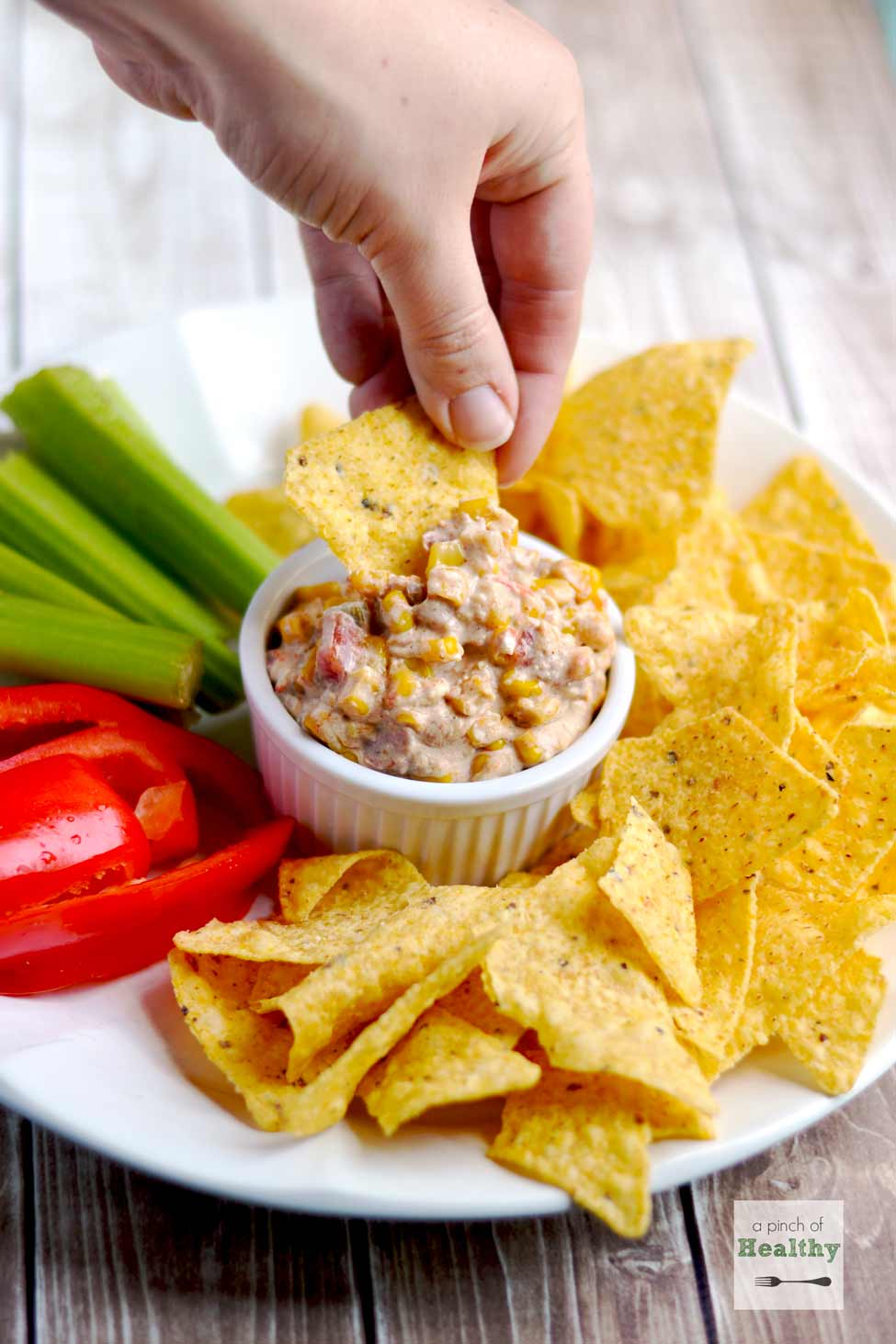Corn Queso Dip - a yummy appetizer that everyone loves   APinchOfHealthy.com
