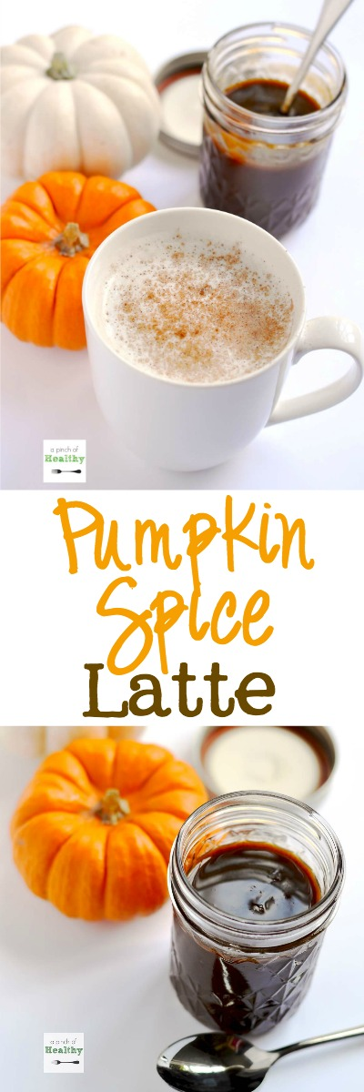 Pumpkin Spice Latte - make your own with all natural ingredients. No espresso machine needed! | APinchOfHealthy.com