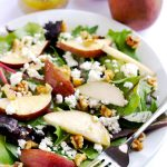 Pear, Goat Cheese and Walnut Salad with Maple Vinaigrette | APinchOfHealthy.com