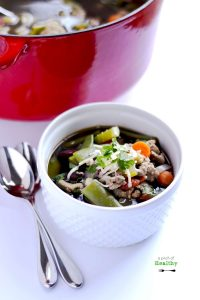 Turkey Vegetable Soup - a hearty soup chocked with veggies and ground turkey. So easy, filling and delicious! | APinchOfHealthy.com
