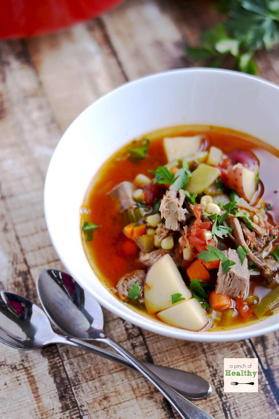 Vegetable Beef Soup - a family favorite that I make using leftover pot roast. | APinchOfHealthy.com