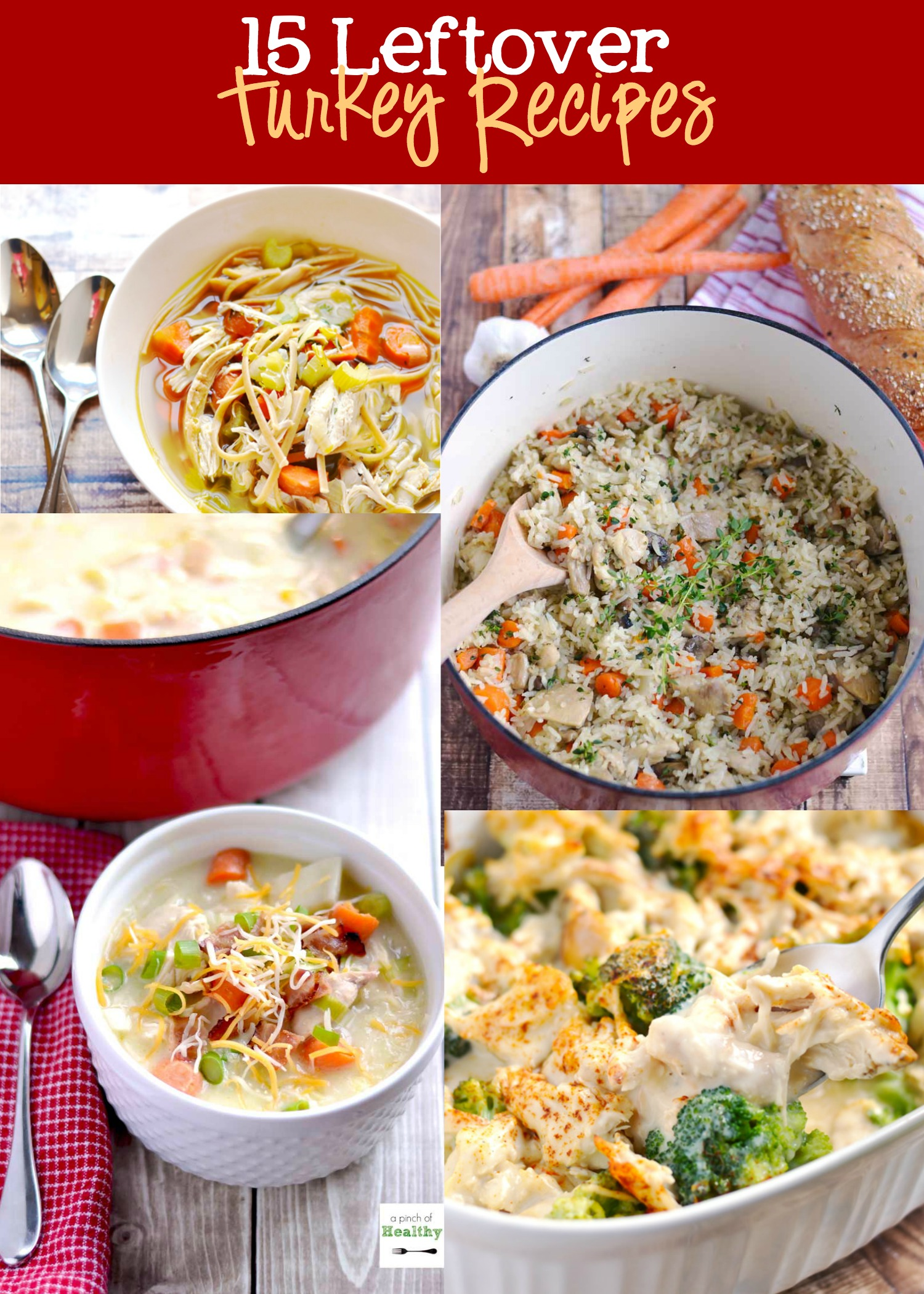 15 Leftover Turkey Recipes - 15 awesomely delicious ways to use up all that leftover turkey!   APinchOfHealthy.com