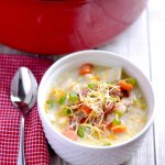 Chicken and Corn Chowder - a creamy & filling soup that is like a hug in a bowl. | APinchOfHealthy.com