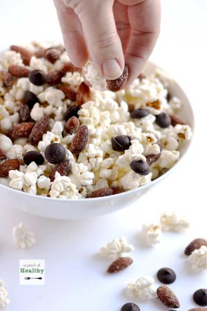 Popcorn with Smokehouse Almonds and Dark Chocolate