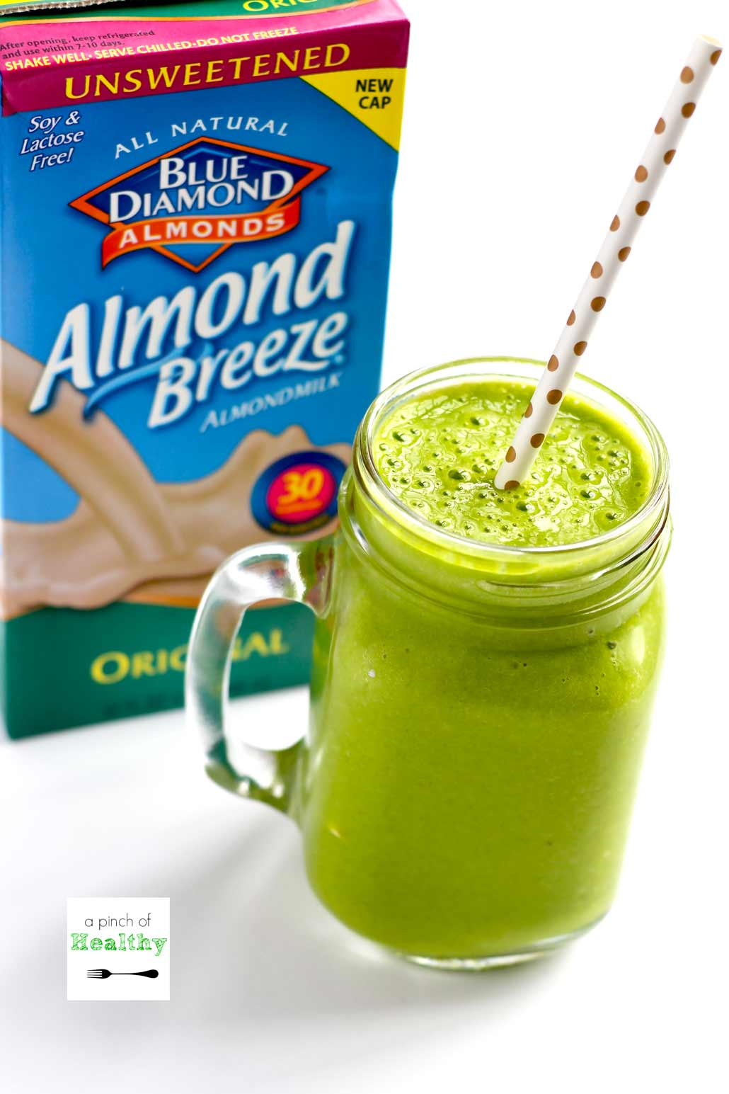 Simple Green Smoothie Recipe - delicious and healthy breakfast or a snack. | APinchOfHealthy.com