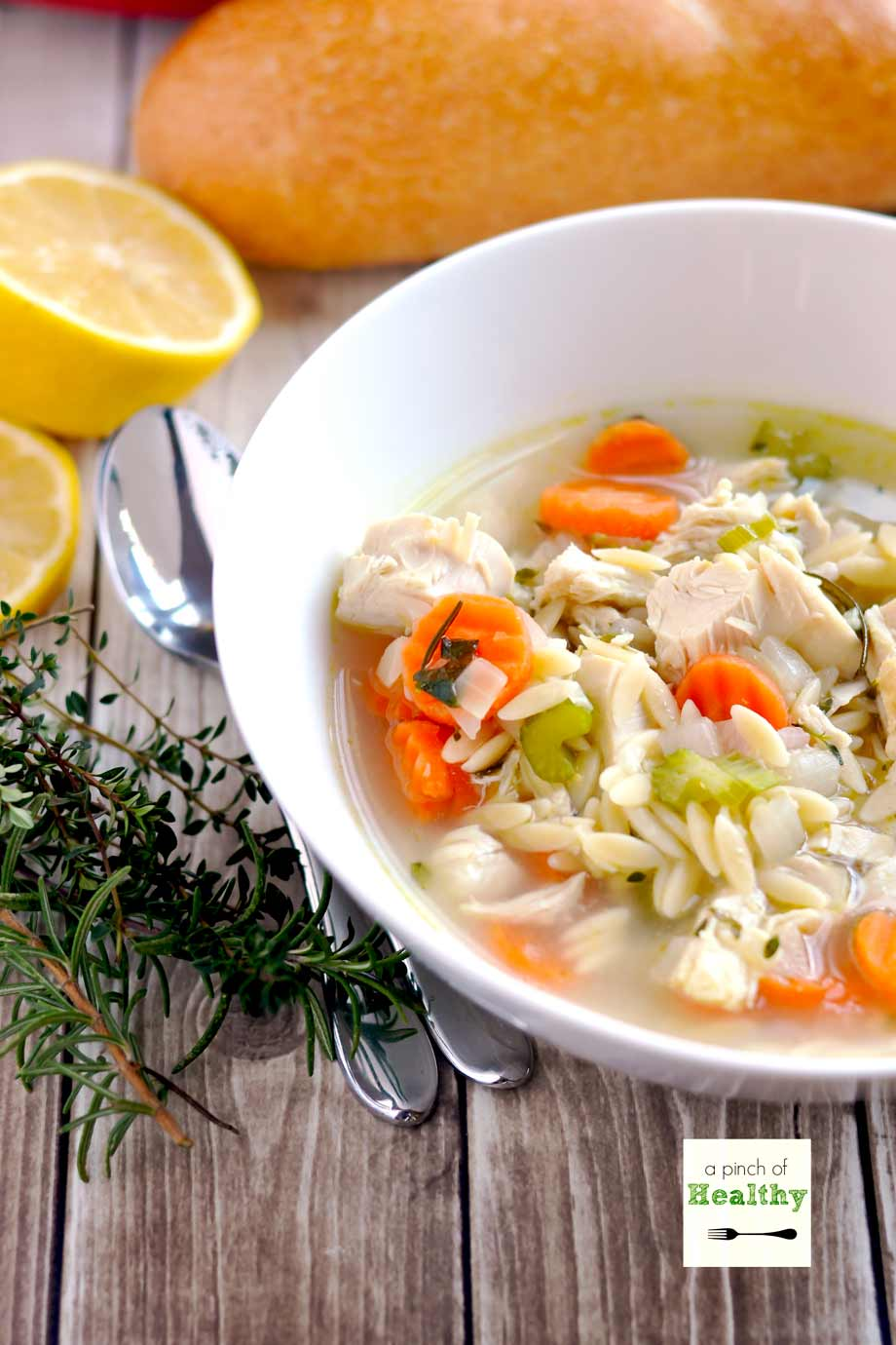 Lemon Chicken Orzo Soup - an easy dinner recipe that is comforting and delicious. | APinchOfHealthy.com