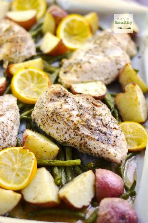 One Pan Chicken Dinner | APinchOfHealthy.com