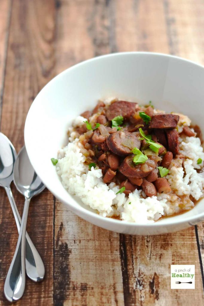 Red Beans and Rice in the Slow Cooker | APinchOfHealthy.com