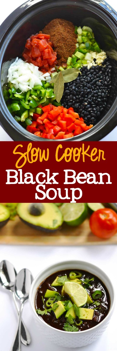 Slow Cooker Black Bean Soup - delicious and easy weeknight dinner | APinchOfHealthy.com