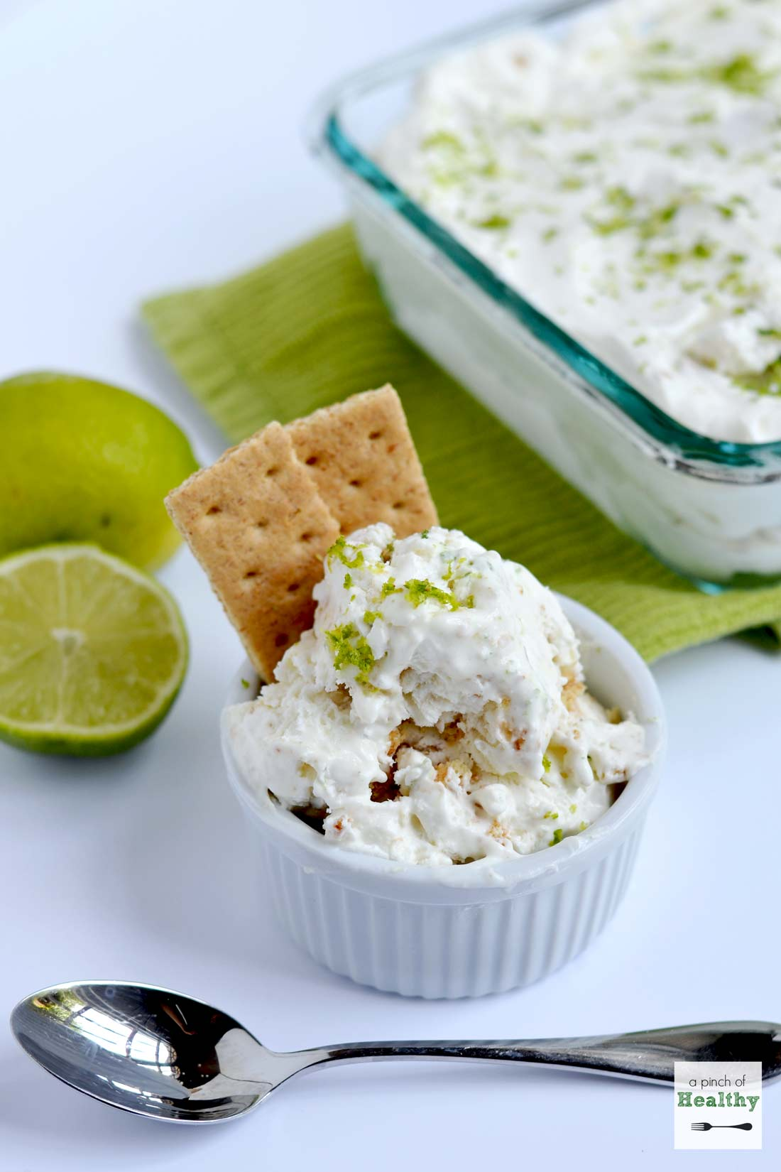 Key Lime Pie Ice Cream - no churn, and only 4 simple ingredients. So easy and delicious! | APinchOfHealthy.com