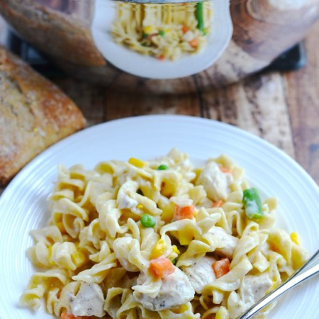 One pot creamy chicken and noodle skillet is a comforting and easy meal that your whole family will love!   APinchOfHealthy.com