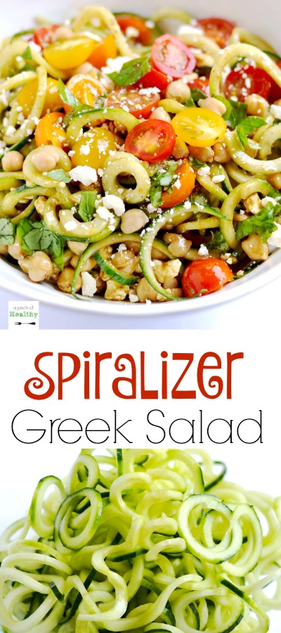 This spiralizer Greek salad is a light and refreshing side dish made with cucumbers, tomatoes, basil, chickpeas, feta cheese and balsamic vinaigrette. | APinchOfHealthy.com