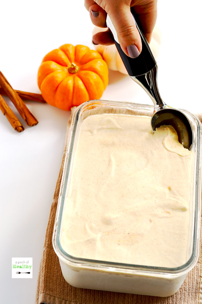 This pumpkin spice ice cream is made with only four ingredients, and it's a delicious way to usher in fall. You can make it without an ice cream machine! | APinchOfHealthy.com