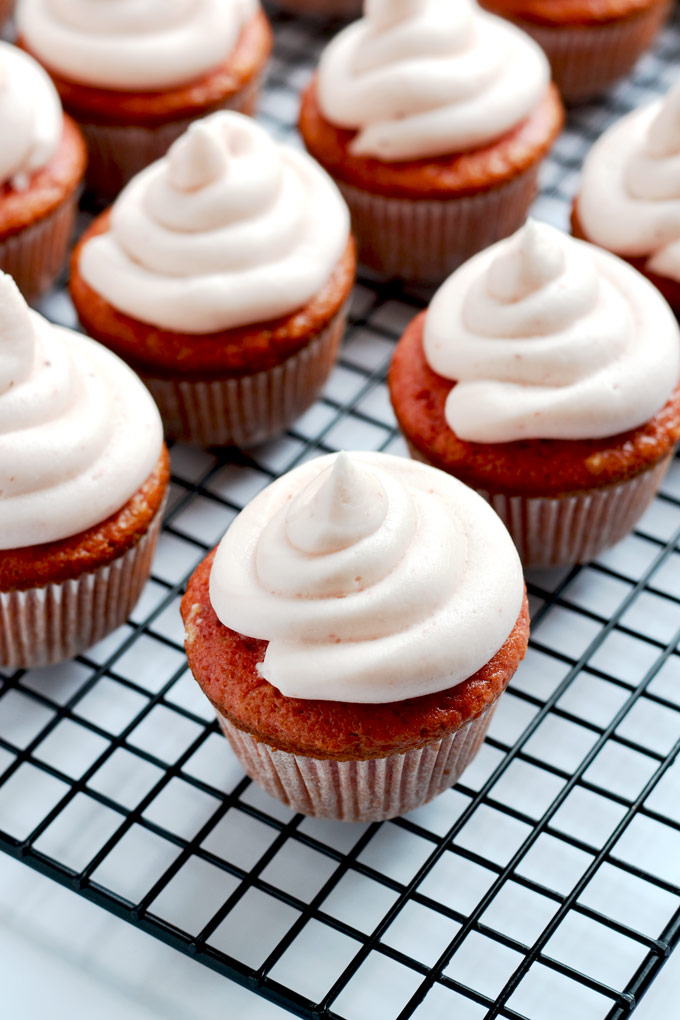 Strawberry cupcakes with strawberry cream cheese icing are such a delicious sweet treat, perfect for a birthday party! | APinchOfHealthy.com