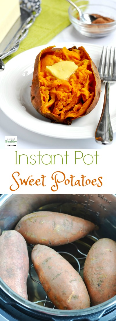 "When I show you how I make ""baked"" sweet potatoes in the Instant Pot, you may never make them any other way again. They are so easy and delicious and ready in less than thirty minutes! 
