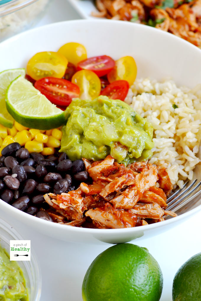 You can make your own chicken burrito bowls, and they are better than Chipotle! | APinchOfHealthy.com