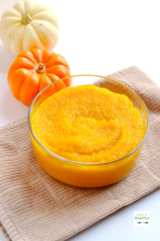 You can make Instant Pot pumpkin puree in a snap! It is super simple and easy since there is no peeling, cutting, de-seeding or even piercing ahead of time. | APinchOfHealthy.com