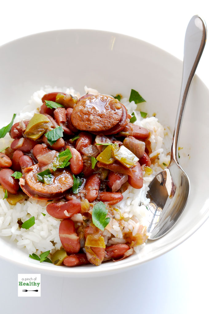 Instant Pot Red beans and rice is a flavorful dish that you can make without having to wait all day, and you do not have to presoak the beans. | APinchOfHealthy.com