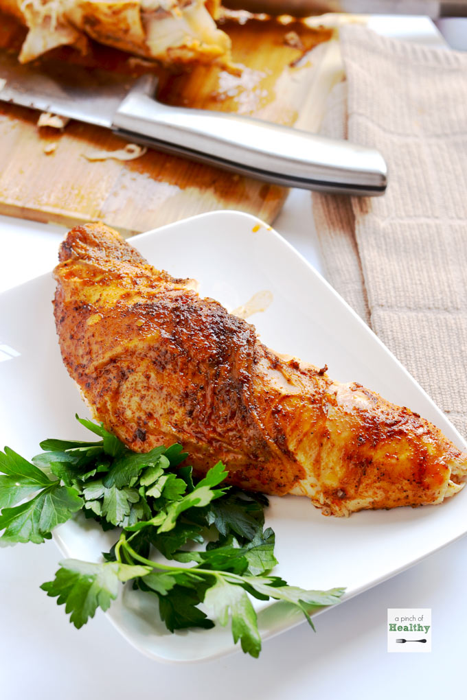Our family's favorite oven roasted turkey breast. We have this every Thanksgiving. | APinchOfHealthy.com