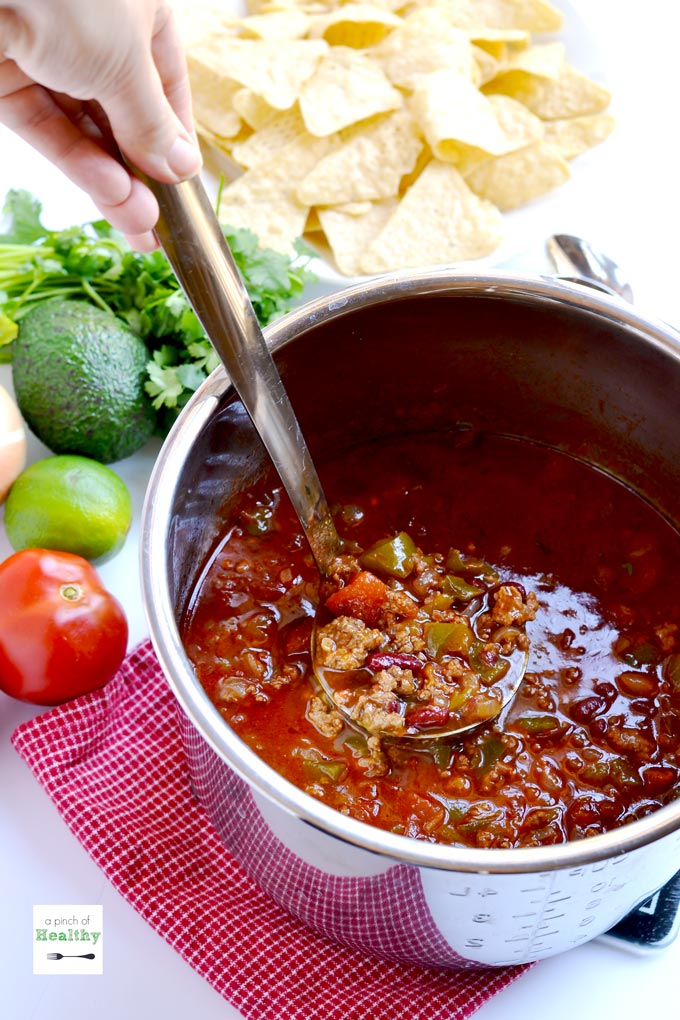 This classic beef chili is a family favorite, and you can make it in an Instant Pot, slow cooker or on the stovetop. | APinchOfHealthy.com