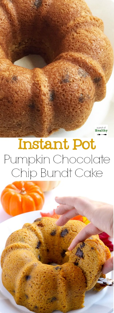 You can make this pumpkin banana chocolate chip bundt cake in your Instant Pot, and it is such a delicious treat. | APinchOfHealthy.com
