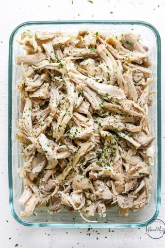 Instant pot shredded chicken in rectangle glass container