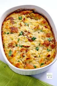 This southern cornbread dressing has been enjoyed in our family every Thanksgiving since I can remember. It is so simple and delicious, and perfect alongside oven roasted turkey breast! | APinchOfHealthy