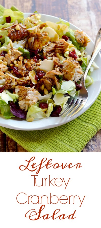 This leftover turkey cranberry salad is a light and delicious way to enjoy your Thanksgiving turkey leftovers. | APinchOfHealthy.com