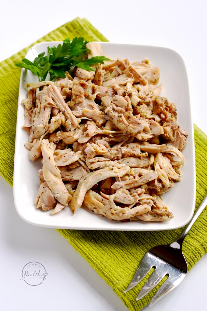 This is the easiest, no-fail way to make Instant Pot shredded chicken. It is so versatile, and you can use it in so many different recipes! | APinchOfHealthy.com