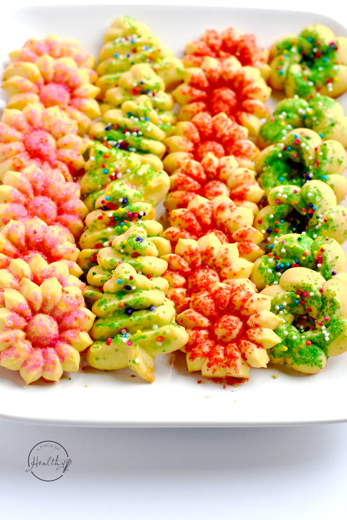 I have made these Christmas spritz cookies for many years, and they are a family favorite! | APinchOfHealthy.com
