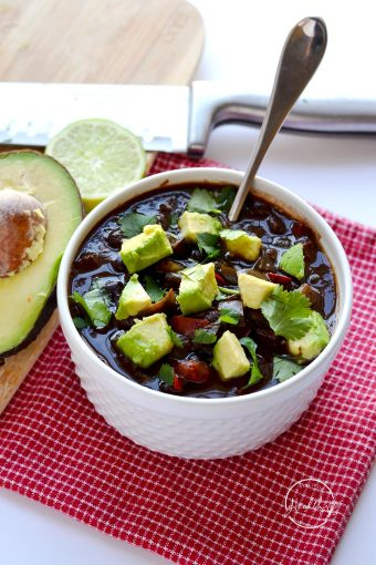This Instant Pot black bean soup is a delicious plant-based meal that even the meat-eaters will love!   APinchOfHealthy.com