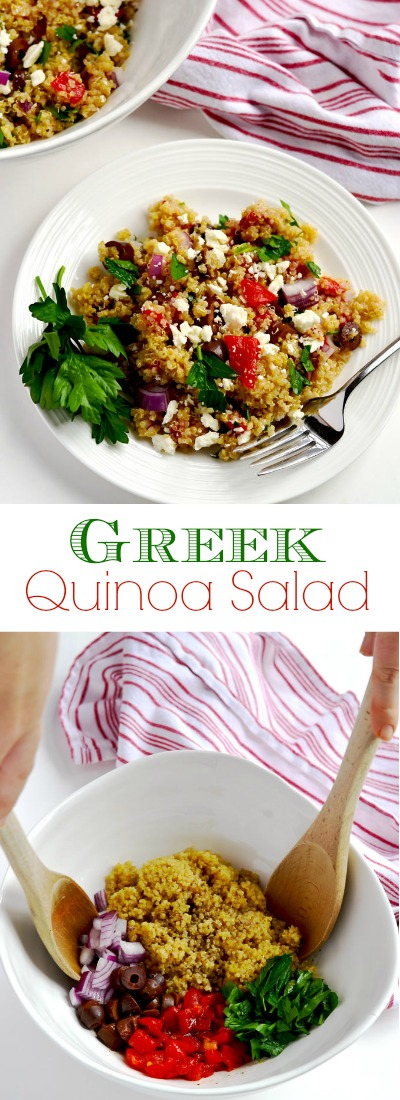 Greek quinoa salad is a simple side dish or vegetarian main dish that is easy, delicious and filling. | APinchOfHealthy.com