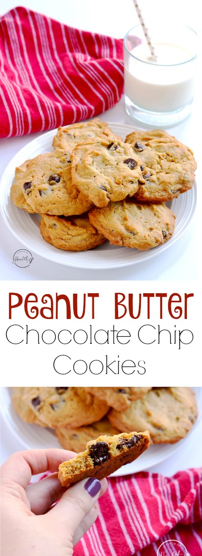 Peanut butter chocolate chip cookies are an easy and tasty dessert that my whole family goes crazy for! And they are SO easy to make. | APinchOfHealthy.com