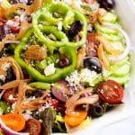 Greek salad recipe with caramelized onion