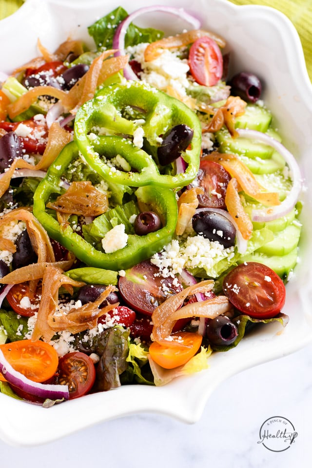 Greek Salad Recipe With Caramelized Onion A Pinch Of Healthy
