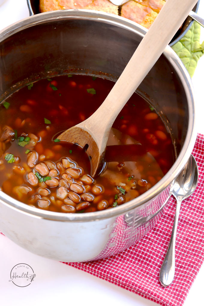 Instant Pot pinto beans are delicious, simple and easy! I will show you how to cook dry pinto beans in the Instant Pot, and there is no pre-soaking required. | APinchOfHealthy.com