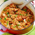 This chicken and sausage jambalaya is a delicious one pot meal that is perfect for Mardi Gras, or any time of year! | APinchOfHealthy.com