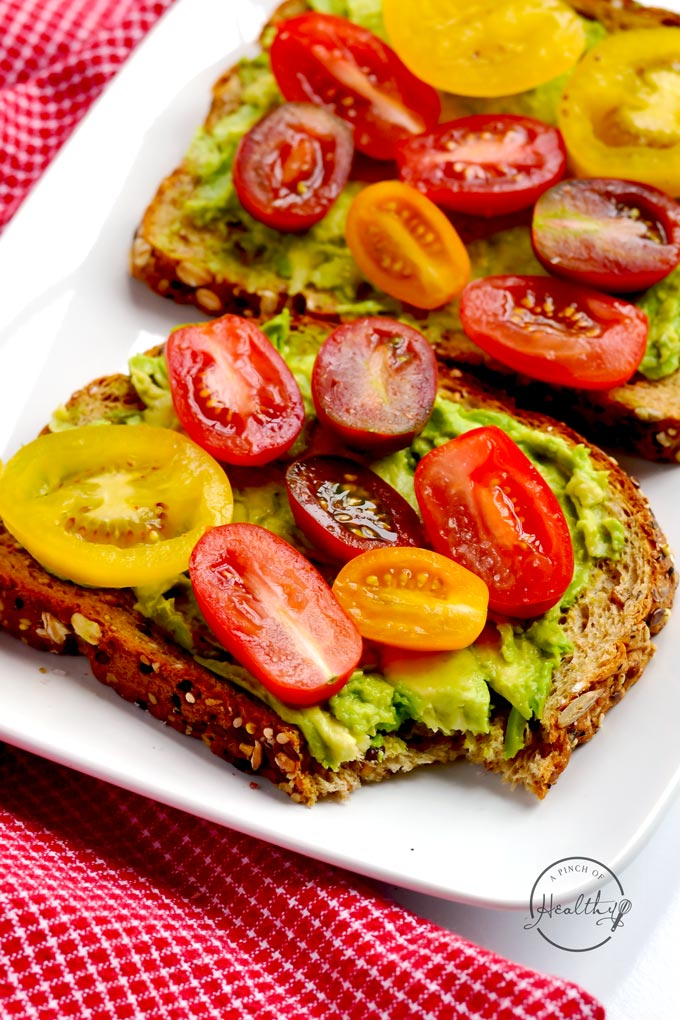 Avocado toast is one of my go-to easy breakfasts that is full of flavor and healthy, filling fats, and it happens to be totally plant-based/ vegan. | APinchOfHealthy.com