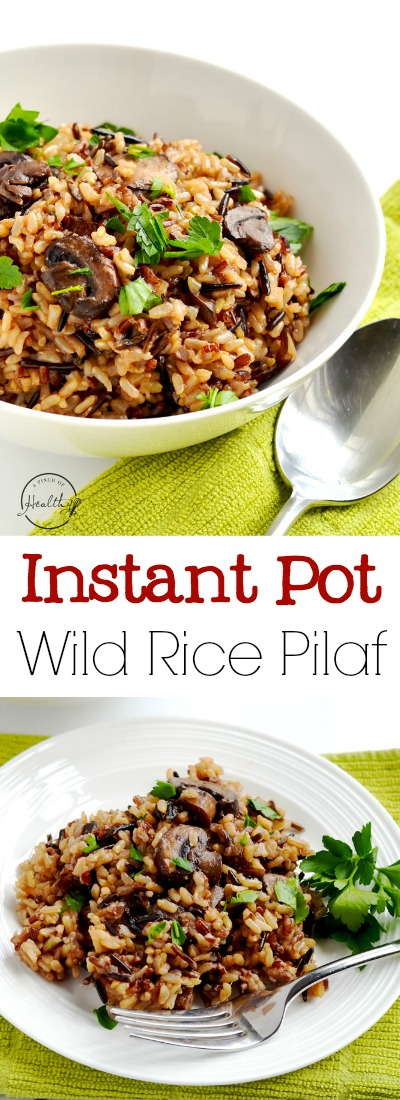 Instant Pot wild rice pilaf is a simple and delicious side dish you are going to love! Wild/ brown rice blend, onion, garlic, mushrooms and veggie stock. | APinchOfHealthy.com