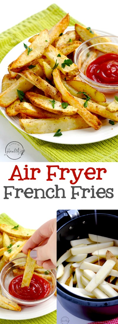 Air fryer French fries are the perfect way to make fries at home , and my family loves these! | APinchOfHealthy.com