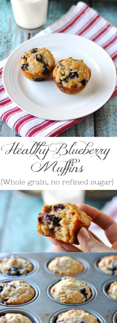 "My healthy blueberry oat muffins are so delicious and comforting. Made with 100% whole wheat pastry flour, oats, maple syrup, coconut oil & Greek yogurt.| APinchOfHealthy.com"" width="