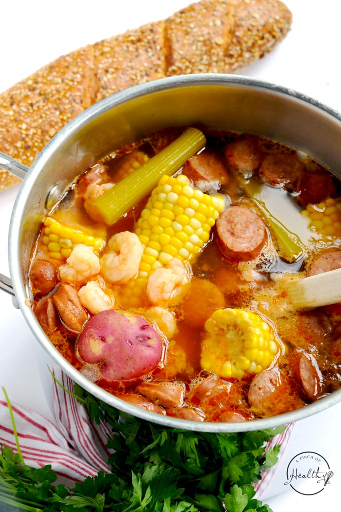 Lazy low country boil is a delicious all-in-one-pot meal that is perfect for a simple summer supper. | APinchOfHealthy.com