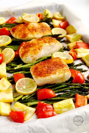 Halibut One Pan Dinner with Asparagus, Red Pepper and Summer Squash