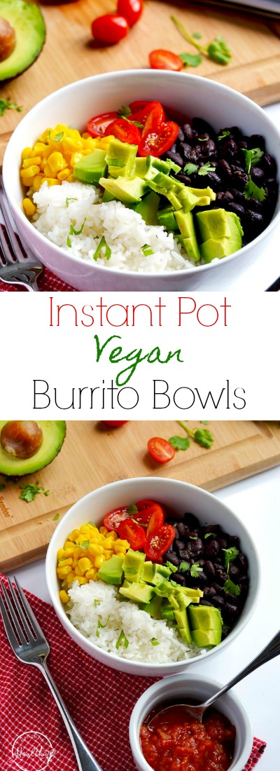 These vegan burrito bowls are delicious and filling, perfect for a meatless meal that everybody loves! | APinchOfHealthy.com