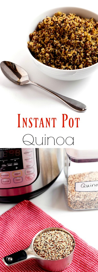 This Instant Pot quinoa is my go-to method for cooking quinoa, and it is super simple and quick. Great for making ahead too. | APinchOfHealthy.com
