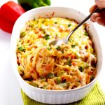 Mexican chicken spaghetti is a delicious and festive dinner that your whole family will love.   APinchOfHealthy.com